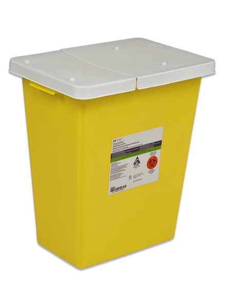 Picture of Chemotherapy Container,Hinged Lid, Yellow