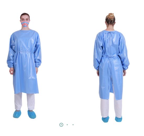 Picture of Level 2 SMS isolation gown. Full back, tie neck, knit cuff. Classic waist tie. Light weight 28G. Yellow non-sterile. Regular/Large. longer lead times